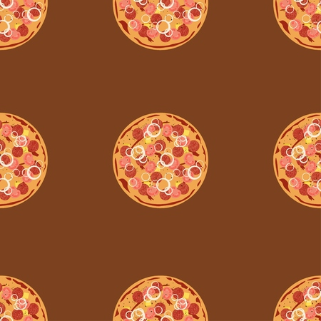 salami: Seamless pattern with pizza salami. Vector flat background texture