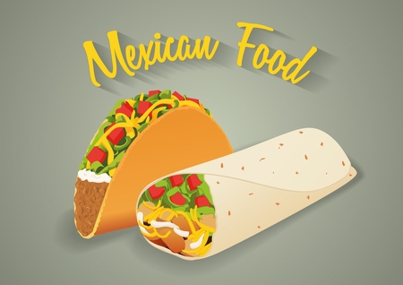 taco: Mexican food illustration in vector format. Tacos and burritos with text message.