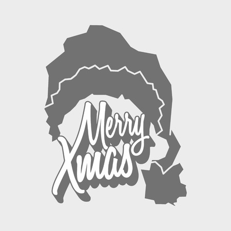 titling: Vector christmas logo concept with Merry Xmas titling and Santa Claus hat.