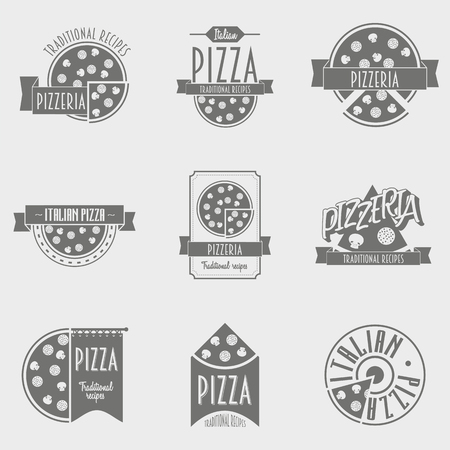 pizzeria label: Vector illustration Pizza Logo set. Black and white Pizzeria label or Logo concepts for the Italian restaurant and cafe.
