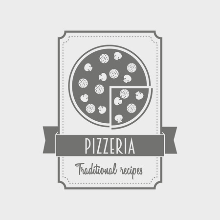 wood board: Pizza label. Logo for the Italian restaurant and cafe. Black and white. Can be used to design menu, business cards, posters