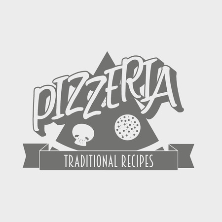 pizzeria label: Vintage pizzeria label, badge or design element. Can be used to design menu, business cards, posters Illustration