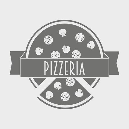 logo de comida: Vector vintage logotype or poster concept of pizzeria. Hipster italian food logo template.