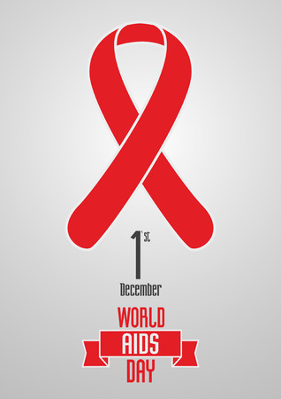 aids virus: World Aids Day 1st December design concept with red ribbon