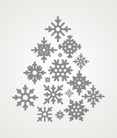 schneeflocke: Schneeflocken in Form eines Weihnachtsbaumes gesetzt. Snowflakes Symbole auf grauem Hintergrund. Illustration