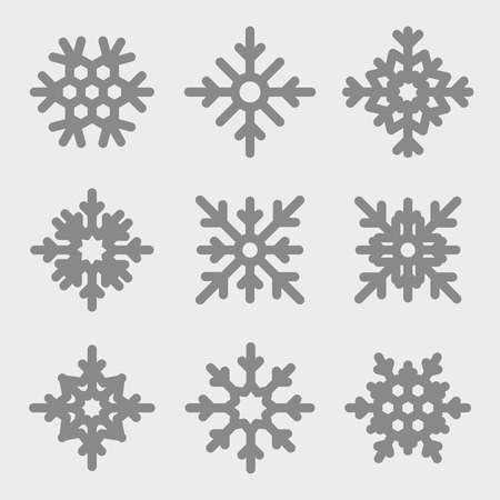 snowflakes set - Snowflakes icons on gray background. Çizim