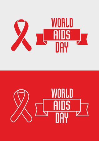 aids virus: World Aids Day concept with ribbon and text on red and white background Illustration