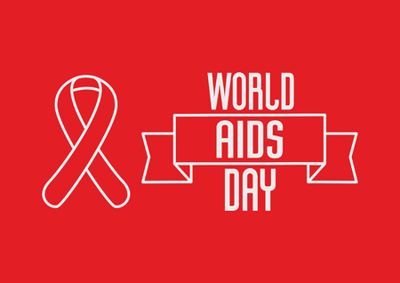 alert ribbon: World Aids Day concept with Red ribbon and text on red background. Illustration