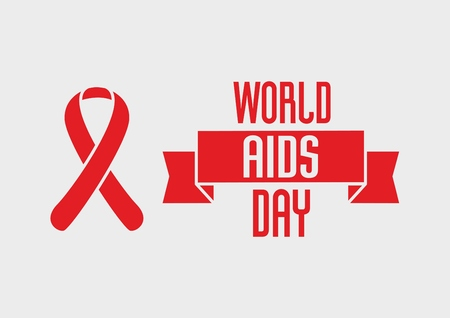 aids: World Aids Day design concept with red ribbon of aids awareness on light background Illustration