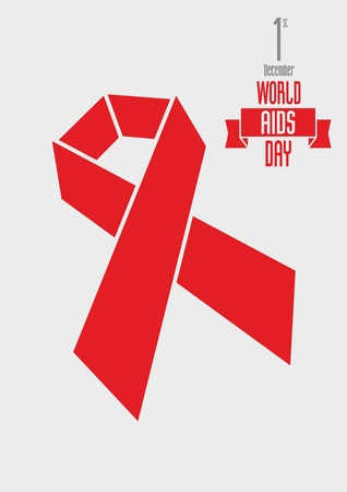 alert ribbon: illustration concept with Red ribbon aids awareness