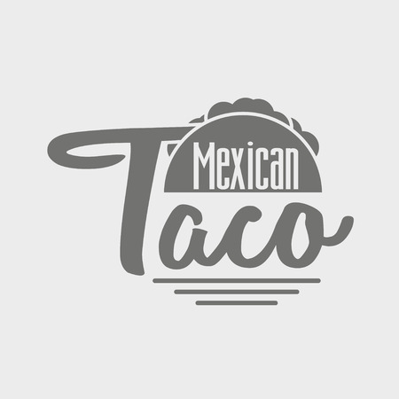 shredded: Taco icon or concept. Dark grey icon on light grey background.