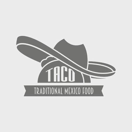 taco: tacos design template. Mexican restaurant or fast food icon. Illustration
