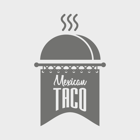 mexican food plate: Black and white Mexican Taco concept illustration.  Can be used to design menu, business cards, posters