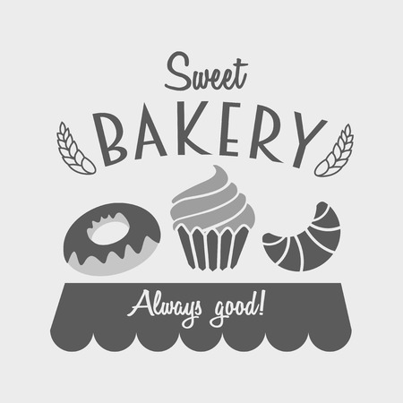 cakes bakery  emblem for food, cafe or restaurant menu design with croissant, cake and donut
