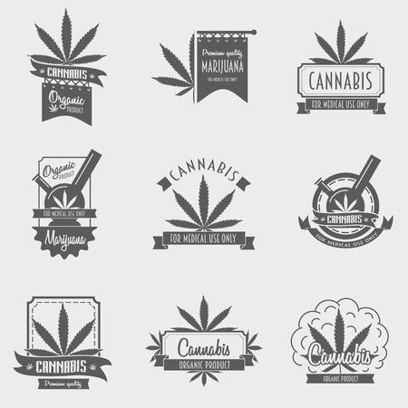 Vector Reihe von Cannabis Emblem, Abzeichen oder Konzept