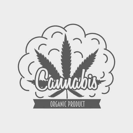 Vector cannabis emblem, badge or concept with marijuana leaf.