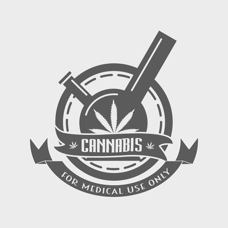 bong: Bong with Marijuana leaf - cannabis for medical use. Vector concept.
