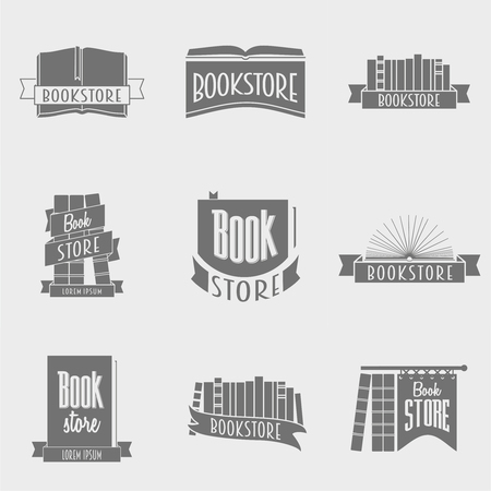 book store: set of vector book store design concepts
