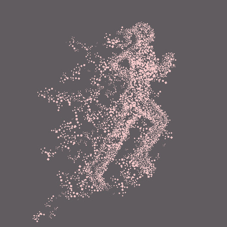 particle: illustration silhouette of running woman. particle divergent Illustration