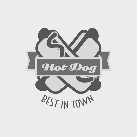 hot dog label: hot dog vector logo or label, fast food, junk food Illustration