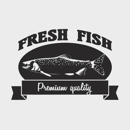 salmon fish: Seafood fresh fish label,   design template with salmon fish. Illustration