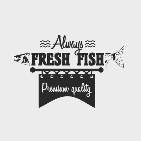 salmon fish: badge template with  salmon fish and text Always fresh fish