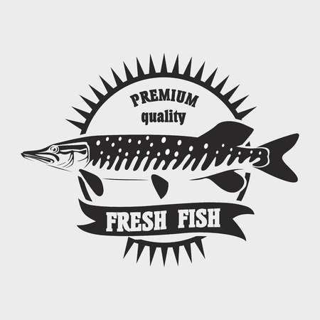 Seafood restaurant   template. Fresh fish vector  label template