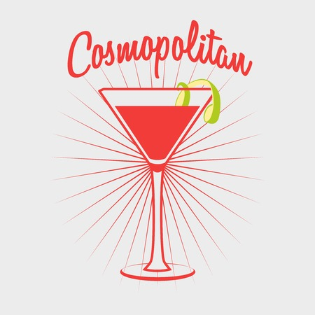 scotch whisky: Cosmopolitan cocktail party glass design Illustration