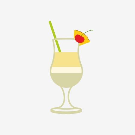 pina: pina colada cocktail vector icon