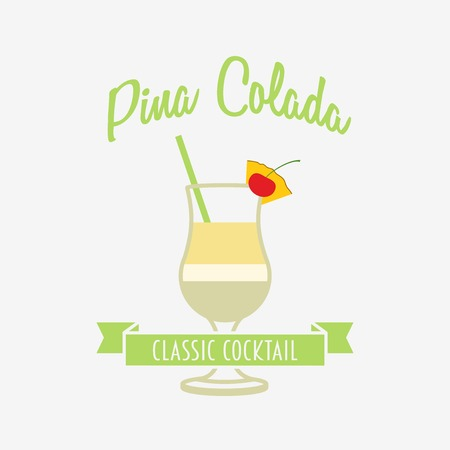 pina colada: Cocktail  , badge or label design template with Pina colada in flat design style. Can be used for design menu, flyers, posters Illustration