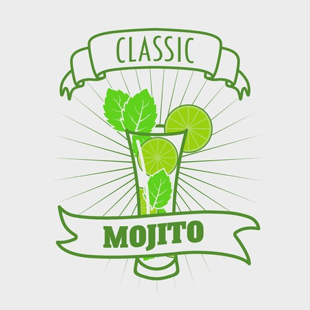 mohito: Mojito classic cocktail. Vector illustration of fresh and salty drink. Design element for poster