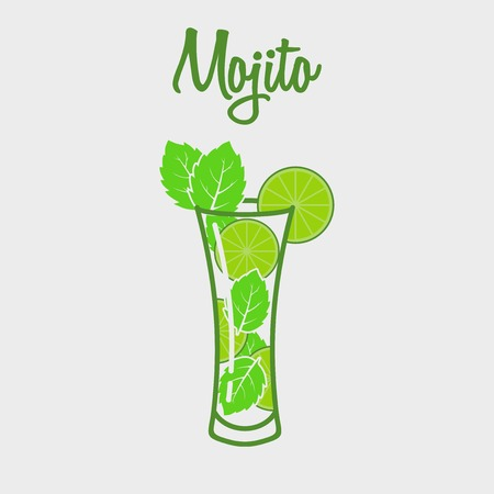 Mojito classic cocktail colored web icon on a white background. Vector illustration. Design element for poster,