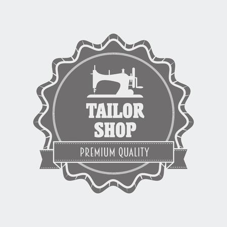 tailor shop: Retro tailor shop   label design template with sewing machine