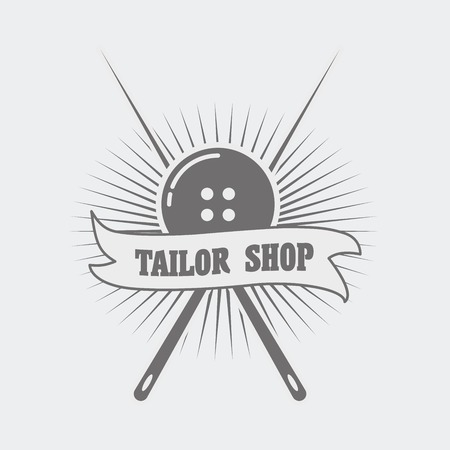 tailor shop: Tailor shop  label concept with button and two needles