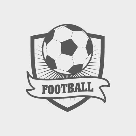 voetbal, label of embleem sjabloon met bal op schild