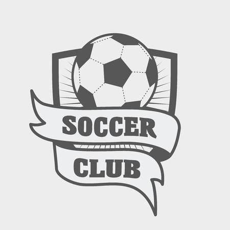 voetbal of voetbal, het etiket of embleem sjabloon met bal op schild en lint
