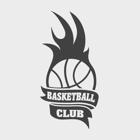 basketball ball in fire: Basketball club sign or icon with ball and fire flame. Fireball symbol on white background