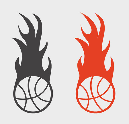fireball: Basketball sign ir icon with ball and fire flame. Fireball symbol on white background
