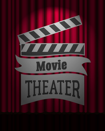 movie theater: Movie theater  dark red curtain scene gracefully. Poster or flyer template Illustration