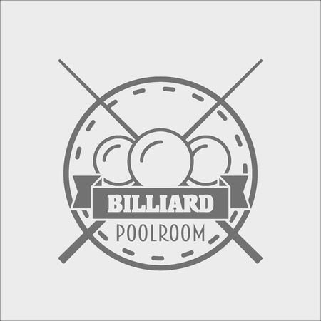 snooker cue: Billiards and snooker sports emblem,    badge design concept with balls, cue and text for sporting   and leisure design