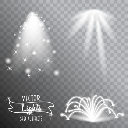 special effects: Set vector of lighting flare special effects isolated on transparent background.  Flare, explosion and stars
