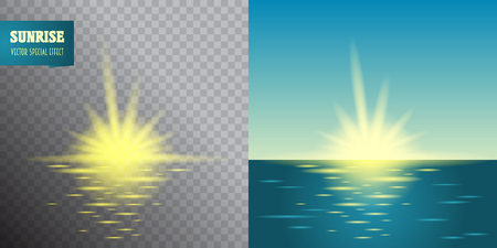 sun flares: Sunrise transparent effect. Summer holidays vector background.  blue sky and sea Abstract blurry background with overlying semi transparent circles, light effects and sun burst.