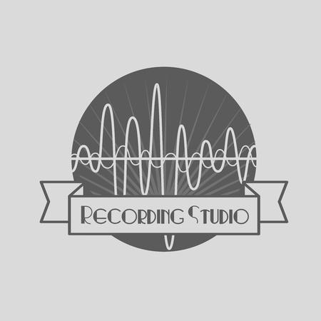 estudio de grabacion: tienda de música, estudio de grabación, karaoke etiqueta en blanco y negro del club, emblema de estilo vintage