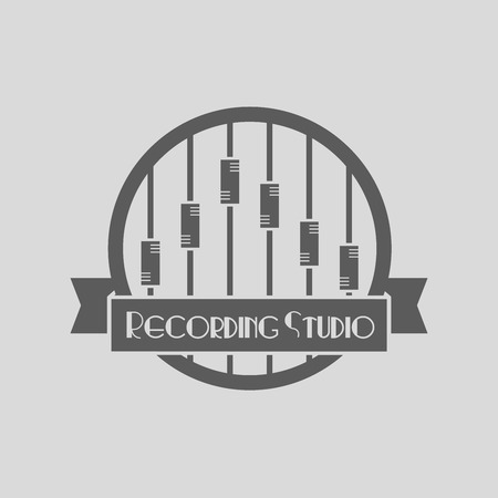 vector recording studio . Music icons for audio store, recording studio label, podcast and radio station, branding and identity.