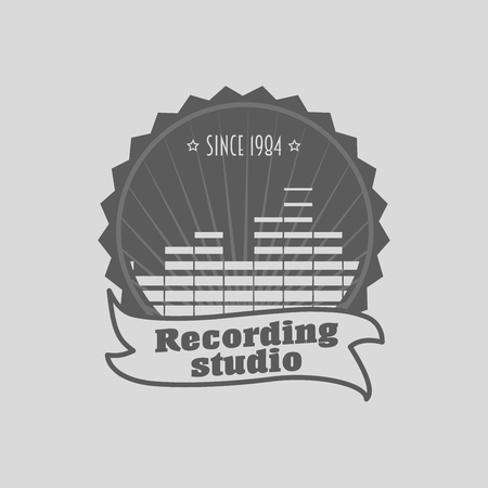 recording: Recording studio , badge or label template. Music icon for audio recording, branding and identity. Can be used for design posters, flyers or cards Illustration