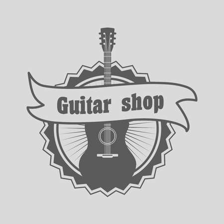 be the identity: Retro styled guitar shop  , badge or label template. Music icon for audio store, branding and identity.  Can be used for design posters, flyers or cards Illustration