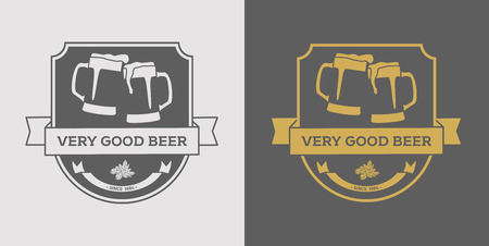 alchoholic drink: Beer   design element in vintage style  , label, badge, poster and other design. Brewery retro vector illustration.