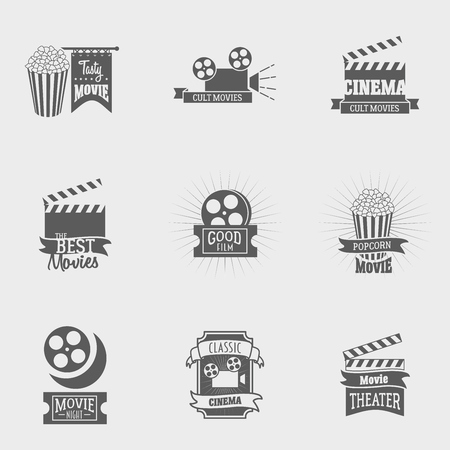 movie theater: Set of vector cinema   and signs. Movie, theater studios and cinema badges. Vintage emblems with sample text. Can be used for design posters, flyers or cards Illustration