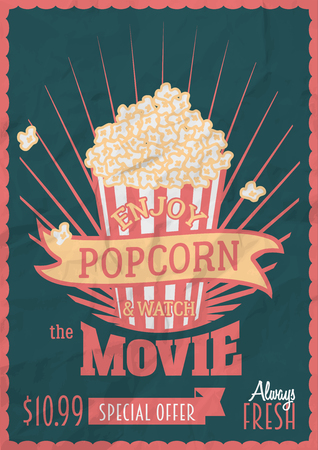 Enjoy popcorn and watch the movie poster design template with enjoy popcorn and watch the movie poster design template with popcorn bucket crumpled paper maxwellsz