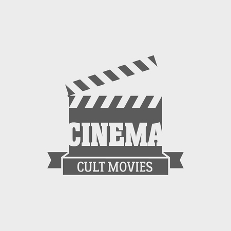 cult: Vector cinema cult movies   label design template with movie clapping board.